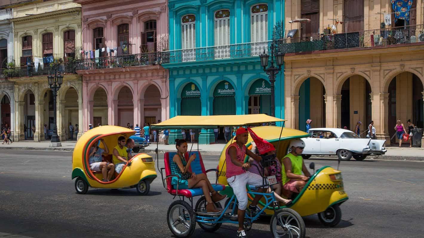 Coco taxis in havana vieja cuba