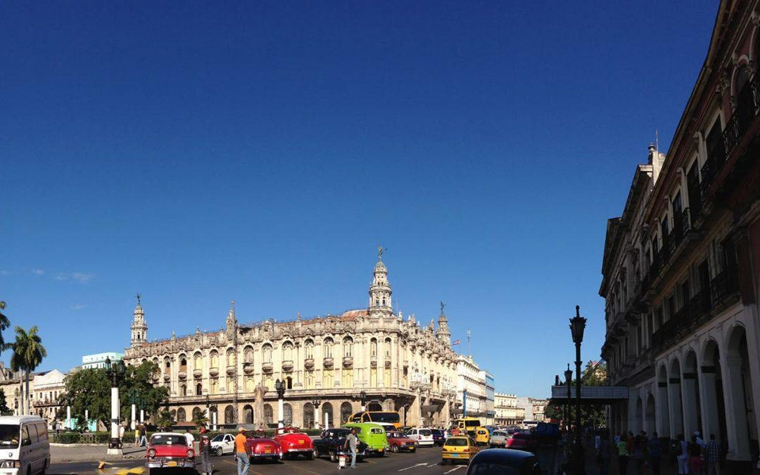 Photo in Old Havana of the Gran Teatro and the bustling street in front
