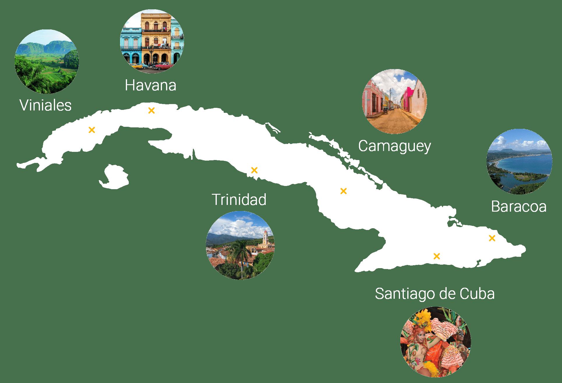 Skydream Cuba Tours departure points shown in Cuba map